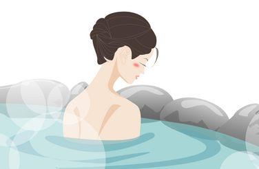 温泉に入浴するピンクコンパニオン